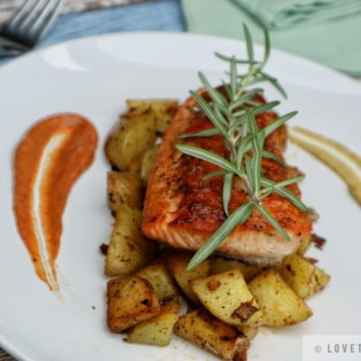 honey mustard glazed salmon, fried potatoes, plate