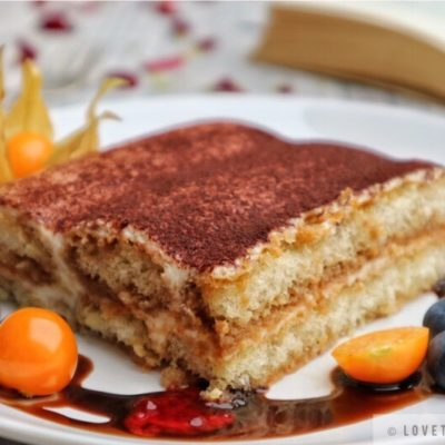 Tiramisu, classic, italian, dessert, physalis, blueberry, chocolate, raspberry, sauce, book