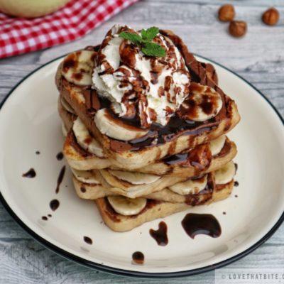 toast, nutella, cream, plate, mint, hazelnut, chocolate