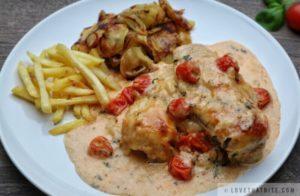 creamy, mozzarella, chicken, recipe, basil, tomatoes, cherry, sauce, heavy, cream, fries, potatoes, fried, tasty, food