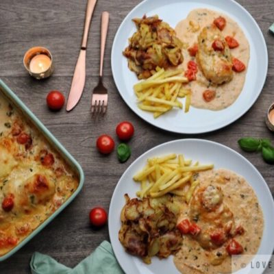 creamy, mozzarella, chicken, recipe, dinner, fries, potatoes, fried, side dish, candle, basil, cherry, tomatoes, comfort, food, melty, cheese, flowers, italian