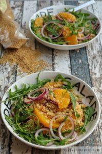 couscous, rocket, leaves, salad, almonds, orange, with, recipe, healthy, quick, easy, package, vegan, vegetarian, food, meal