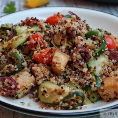 quinoa, with, vegetables, tofu, recipe, vegan, vegetarian, zucchini, tomatoes, stir-fry, easy, simple