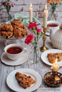 scones, blueberry, recipe, lemon, glaze, tea, time, pot, candles, flowers, Scotland, England, Ireland, recipe, traditional, scrumptious