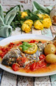 dorado, sea bream, fish, recipe, good, friday, tasty, tomato, basil, onion, sauce, gravy, wine, flowers, roses, yellow, easter, menu, idea, fish, potatoes, baby
