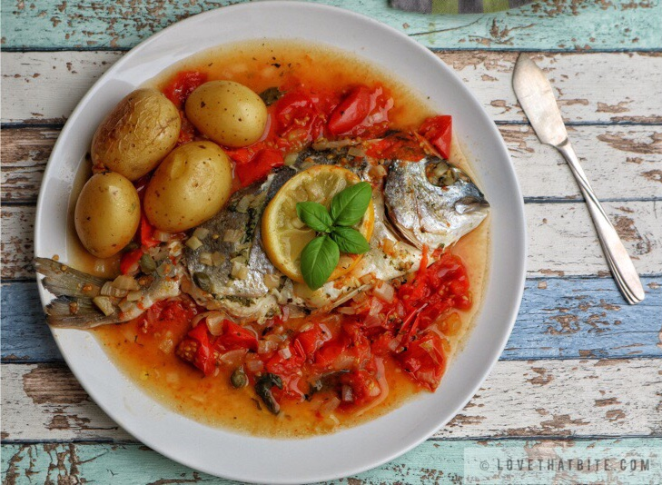 Baked Sea Bream with Tomato Basil Sauce