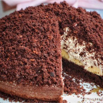 german, chocolate, banana, cream, mole, cake, maulwurfkuchen, fluffy, dome, hill, shape, form, tasty, delicious, rezept, recept, coffee, time, perfect