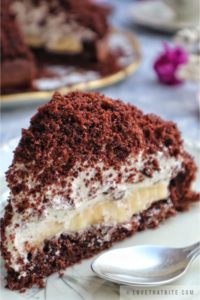 german, mole, cake, maulwurfkuchen, recipe, traditional, simple, baking, banana, cream, chocolate, cake, base, fluffy, texture, hill, dome