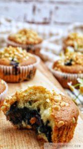 blueberry, vanilla, yogurt, muffins, recipe, almond, sprinkle, cooling-rack, delicious, rich, tasty, treats, lovethatbite