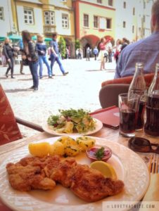 wiener Schnitzel, Innsbruck, Austria, food, restaurant, salad, potato, cranberry, lemon, culinary