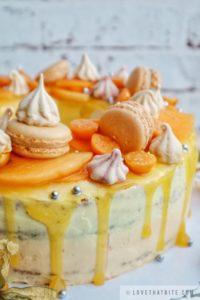 lemon, passion fruit, cake, recipe, birthday, meringue kisses, macarons, physalis, sugar pearl, persimmon, topping, sweet, rezept, recept
