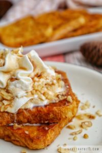 the best, fall, breakfast, pumpkin, french toast, recipe, how to make, drizzle, maple syrup, walnut, chopped, whipped cream