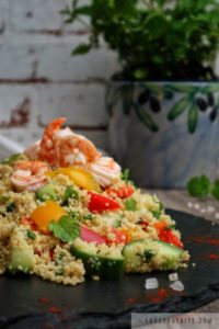 couscous, salad, shrimps, fresh, recipe, spring, mint, delicious, morocco, vibrant, healthy, dish