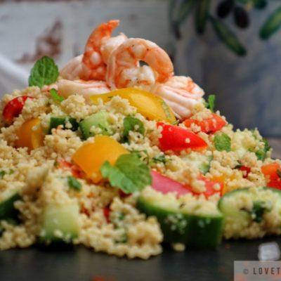 couscous, salad, shrimps, recipe, healthy, dish, meal, easy, quick, rezept, spring, mint, veggies