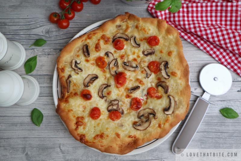 Homemade Mushroom Tomato Pizza