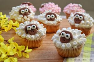 spring, recipe, bake, sheep, cupcakes, easy, marshmallow, frosting, cheese, muffins