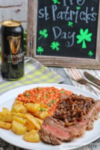 steak, guinness, sauce, onion, dark beer, st.Patrick's day, special, menu, sirloin, lovethatbite, recipe